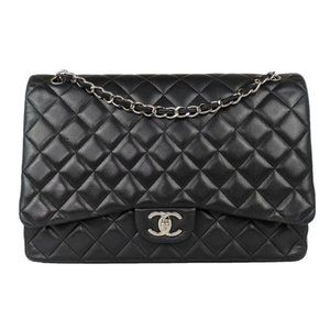 Chanel Black Maxi Lambskin Classic Flap Bag